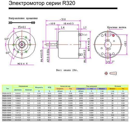 Двигатель R320-16170 1,5VDC
